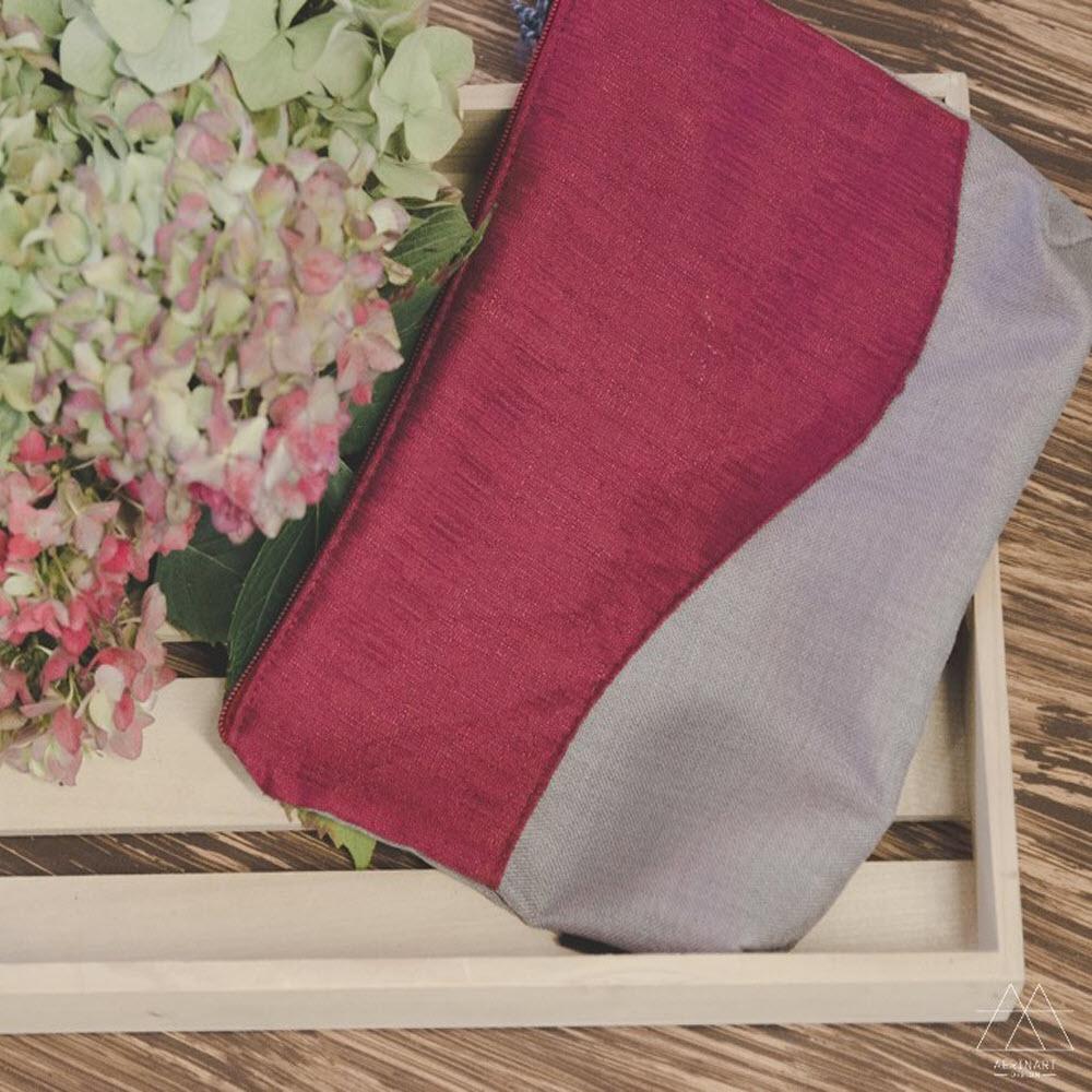 Toaletna torbica - sivo-rdeča
